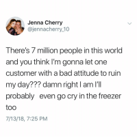 Bad, Memes, and World: Jenna Cherry  @jennacherry 10  There's 7 million people in this world  and you think I'm gonna let one  customer with a bad attitude to ruin  my day??? damn right l am I'T  probably even go cry in the freezer  too  7/13/18, 7:25 PM Damn right