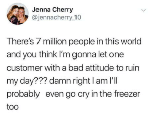 To be fair, who wouldnt?: Jenna Cherry  @jennacherry_10  There's 7 million people in this world  and you think I'm gonna let one  customer with a bad attitude to ruin  my day??? damn right I am I'll  probably even go cry in the freezer  too To be fair, who wouldnt?