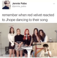 yeri couldn't care less . . . . . . Credit to @teamjunhui: Jennie Pabo  @jennie pabo  remember when red velvet reacted  to Jhope dancing to their song yeri couldn't care less . . . . . . Credit to @teamjunhui