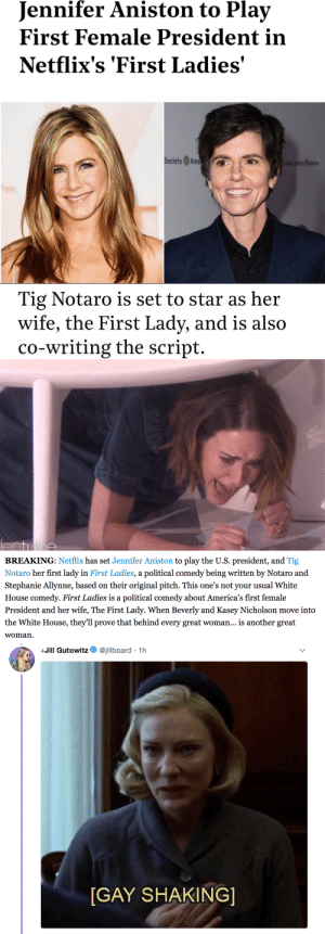 whitmerule:  buzzfeedlgbt: Tweets via (x)The show will be written by Notaro and Stephanie Allynne, who are married in real life, and the project was based on an original pitch to the network by the couple.Read more here … for this I would suffer through watching a show centred on American politics. : Jennifer Aniston to Play  First Female President in  Netflix's 'First Ladies'  SocietyAm   Tig Notaro is set to star as her  wife, the First Lady, and is also  co-writing the script.   ent llge   BREAKING: Netflix has set Jennifer Aniston to play the U.S. president, and Tig  Notaro her first lady in First Ladies, a political comedy being written by Notaro and  Stephanie Allynne, based on their original pitch. This one's not your usual White  House comedy. First Ladies is a political comedy about America's first female  President and her wife, The First Lady. When Beverly and Kasey Nicholson move into  the White House, they'll prove that behind every great woman... is another great  woman.   +Jill Gutowitz. @jillboard . 1 h  GAY SHAKING whitmerule:  buzzfeedlgbt: Tweets via (x)The show will be written by Notaro and Stephanie Allynne, who are married in real life, and the project was based on an original pitch to the network by the couple.Read more here … for this I would suffer through watching a show centred on American politics.