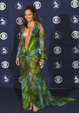 Jennifer Lopez in the dress that was responsible for Google images at the Grammy Awards, 2000.: Jennifer Lopez in the dress that was responsible for Google images at the Grammy Awards, 2000.