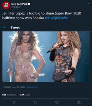 """""""Jennifer Lopez is too big to share Super Bowl 2020 halftime show with Shakira"""" Shakira has more Awards, More Records Sold, More Streams on Spotify and more Views on Youtube.: """"Jennifer Lopez is too big to share Super Bowl 2020 halftime show with Shakira"""" Shakira has more Awards, More Records Sold, More Streams on Spotify and more Views on Youtube."""