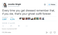 Dank, 🤖, and Ghosts: Jennifer Wright  Follow  @JenAshley Wright  Every time you get dressed remember that  if you die, that's your ghost outfit forever.  RETWEETS  LIKES  3,597  4,374  8:28 AM 21 Jan 2015  Source: mysharona 1987  170,708 notes