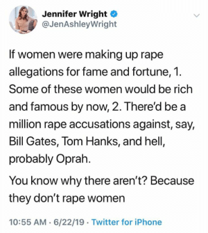 (S): Jennifer Wright  @JenAshleyWright  If women were making up rape  allegations for fame and fortune, 1.  Some of these women would be rich  and famous by now, 2. There'd be a  million rape accusations against, say,  Bill Gates, Tom Hanks, and hell,  probably Oprah  You know why there aren't? Because  they don't rape women  10:55 AM 6/22/19 Twitter for iPhone (S)
