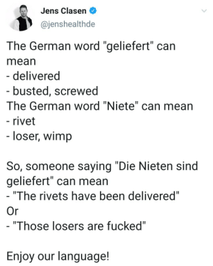 "Tumblr, Blog, and Mean: Jens Clasen  @jenshealthde  The German word ""geliefert"" can  mean  - delivered  - busted, screwed  The German word ""Niete"" can mean  - rivet  - loser, wimp  So, someone saying ""Die Nieten sind  geliefert"" can mean  ""The rivets have been delivered""  Or  - ""Those losers are fucked""  Enjoy our language! thatswhywelovegermany:  ""The rivets have been screwed"" would confuse the hell out of everyone."
