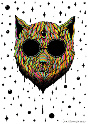 the-fine-art-america:  Meow Melt - Neon Sharpies and ink, A4.: -Jens Daversio 2015 - the-fine-art-america:  Meow Melt - Neon Sharpies and ink, A4.