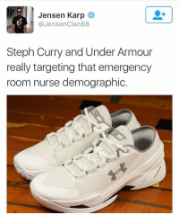 Memes, No Chill, and Steph Curry: Jensen Karp  JensenClan88  Steph Curry and Under Armour  really targeting that emergency  room nurse demographic No chill! What do y'all think of these?! 🤔