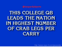 """College, Jameis Winston, and Jeopardy: Jeopardy Sports  THIS COLLEGE QB  LEADS THE NATION  IN HIGHEST NUMBER  OF CRAB LEGS PER  CARRY  http://www.says it.com/jeopardy """"Who is: Jameis Winston?"""" JeopardySports"""