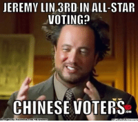 J-Lin the All-Star! Credit: Tashan Patrick  http://whatdoumeme.com/meme/c8chej: JEREMY LIN 3RD, IN ALL-STAR  VOTING  CHINESE VOTERS  Brought Facebook.com/NBAHumor  What IollMeme.com J-Lin the All-Star! Credit: Tashan Patrick  http://whatdoumeme.com/meme/c8chej