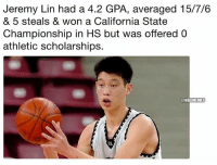 😴: Jeremy Lin had a 4.2 GPA, averaged 15/7/6  & 5 steals & won a California State  Championship in HS but was offered0  athletic scholarships.  ONBAMEMES 😴