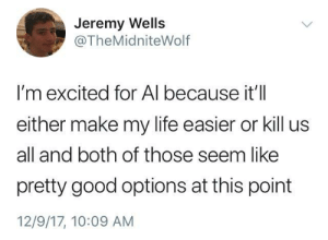 Life, Memes, and Good: Jeremy Wells  @TheMidniteWolf  I'm excited for Al because it'll  either make my life easier or kill us  all and both of those seem like  pretty good options at this point  12/9/17, 10:09 AM Its a win win situation via /r/memes https://ift.tt/2RRWZBZ