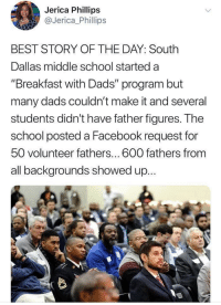 "Facebook, School, and Best: Jerica Phillips  @Jerica Phillips  BEST STORY OF THE DAY: South  Dallas middle school started a  ""Breakfast with Dads"" program but  many dads couldn't make it and several  students didn't have father figureS. T he  school posted a Facebook request for  50 volunteer fathers... 600 fathers from  all backgrounds showed up... Breakfast with Dads? Breakfast with Rads!"