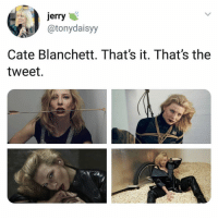 Memes, Ocean, and 🤖: jerry  atonydaisyy  Cate Blanchett. That's it. That's the  tweet. anyway, have u guys seen ocean's 8