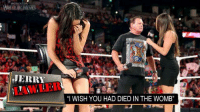 "All credit to Wrestling Memes for this image. I found this hilarious and wanted to share it. -Fid: JERRY  ""I WISH YOU HAD DIED IN THE WOMB"" All credit to Wrestling Memes for this image. I found this hilarious and wanted to share it. -Fid"