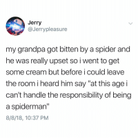 "Memes, Respect, and Spider: Jerry  @Jerrypleasure  my grandpa got bitten by a spider and  he was really upset so i went to get  some cream but before i could leave  the room iheard him say ""at this age i  can't handle the responsibility of being  a spiderman""  8/8/18, 10:37 PM Gotta respect this"