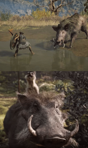 """Jerry, the warthog known for his terrifying performance of the """"Legendary Boar"""" in Assassins Creed Odyssey, received a nomination for Best Achievement in Visual Effects this year for his role as Pumba in the 2019 Lion King remake.: Jerry, the warthog known for his terrifying performance of the """"Legendary Boar"""" in Assassins Creed Odyssey, received a nomination for Best Achievement in Visual Effects this year for his role as Pumba in the 2019 Lion King remake."""