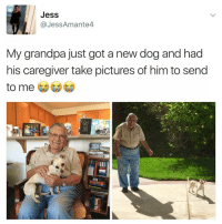 wow hello i'm weeping (@jessamante4 on Twitter): Jess  @JessAmante4  My grandpa just got a new dog and had  his caregiver take pictures of him to send  to me wow hello i'm weeping (@jessamante4 on Twitter)