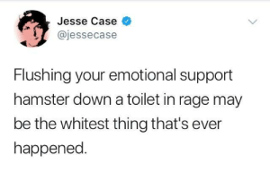 Hamster, Rage, and Down: Jesse Case  @jessecase  Flushing your emotional support  hamster down a toilet in rage may  be the whitest thing that's ever  happened RIP Pebbles