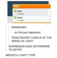 Team Rocket!: Jesse  is online  James  is online  shawarwars:  so this just happened  TEAM ROCKET LOGS IN AT THE  SPEED OF LIGHT.  SURRENDER NOW OR PREPARE  TO SKYPE  MEOWTH I CAN'T TYPE Team Rocket!