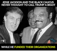 JESSE JACKSON AND THE BLACK CAUCUS  NEVERTHOUGHT TO CALL TRUMP A BIGOT  MIO  WHILE HE FUNDED THEIRORGANIZATIONS