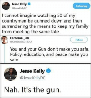 The Means: Jesse Kelly  lessekellyDC  Following  I cannot imagine watching 50 of my  countrymen be gunned down and then  surrendering the means to keep my family  from meeting the same fate  Cameron.ak  @Cameron32338242  Follow  You and your Gun don't make you safe.  Policy, education, and peace make you  safe.  Jesse Kelly  @JesseKellyDC  Nah. It's the gun