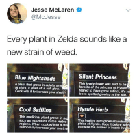 @larenmcjesse: Jesse McLaren  @McJess  Every plant in Zelda sounds like a  new strain of weed  Silent Princess  Blue Nightshade  A plant that grows in quieter are  At night, it gives off a soft glow.  Cook with it to increase your stealth.  This lovely flower was said to ha  favorite of the princess of Hyrule.  feared to have gone extinct, it's re  been spotted growing in the wild.  Cool Safflina  Hyrule Herb  This medicinal plant grows in hig  such as mountains in the Hebra  regions. When cooked into a dis  temporarily increase your heat re  This healthy herb grows abundan  plains of Hyrule. Cook it before eating  increase the number of hearts it resto @larenmcjesse
