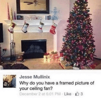 December 2, Irl, and Me IRL: Jesse Mullinix  Why do you have a framed picture of  your ceiling fan?  December 2 at 6:01 PM Like 3 me irl