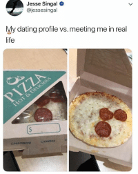 Af, Dating, and Life: Jesse Singal  @jessesingal  My dating profile vs. meeting me in real  life  PEPPERONI 🤣Damn, accurate AF. Tag someone