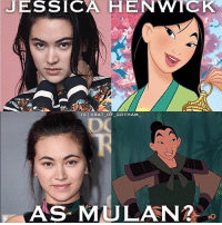 Memes, 🤖, and The Link: JESSICA HENWTCK  IG GBAT OF GOTHAM  AS MULAN @jhenwick was the standout of iron fist for me honestly! She's gorgeous and badass at the same time. I could easily see her as Mulan. We already know she can do action. Plus she is already part of the Disney Family🤔🤔🤔🤔This was just an idea lol What do you think? Feel free to comment and share just give credit! . . Don't forget to use the link in our bio to get some awesome shirts! . . . . . . . . . . . justiceleague jla benaffleck batman geoffjohns superman henrycavill wonderwoman fancast daredevil Disney mulan disneyprincess kristenritter mikecolter charliecox lukecage marvel mcu rottentomatoes netflix dannyrand ironfist finnjones colleenwing jessicahenwick