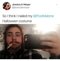 Halloween, Instagram, and Meme: Jessica K Meyer  @jessicakmeyer  So l think I nailed my @PostMalone  Halloween costume @pubity was voted 'best meme account on Instagram' 😂