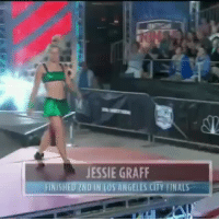 Finals, Gif, and Target: JESSIE GRAFF  FINISHED 2ND IN LOS ANGELES CITY FINALS margary: disposableideas:   humorstaff:   Her:   I woulda sprained my ankle on the very first thing she jumped on and fallen in the water.