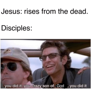 srsfunny:Happy Easter!: Jesus: rises from the dead  Disciples:  you did it. you Crazy son of God you did it srsfunny:Happy Easter!