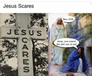 Boo, Dank, and Jesus: Jesus Scares  Boo, LOL  JESUS  Jesus, you scared  the shit out of me! meirl by 0Artik0 MORE MEMES