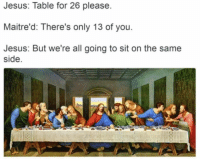 "that-twink-over-there:  jover2013:  peony-peachh:  lambrini-socialism:  themorbidmedic:  evangeline-elena:  aubscares:  fun fact:The last supper would have been more like this, according to tradition:  so casual i love it  a sleepover with jc and the boys   Paul: Judas truth or dare?? Judas: dare Paul: okay lmao I dare u to kiss JC   Jesus: ok your turn peter truth or dare Peter: truth Jesus: would you ever betray me peter   Peter:Jesus:(a few days later)Peter: *betrays Jesus*Jesus:  Jesus: *returns*Peter: ""Jesus… you're back ?""Jesus:: Jesus: Table for 26 please  Maitre'd: There's only 13 of you  Jesus: But we're all going to sit on the same  side that-twink-over-there:  jover2013:  peony-peachh:  lambrini-socialism:  themorbidmedic:  evangeline-elena:  aubscares:  fun fact:The last supper would have been more like this, according to tradition:  so casual i love it  a sleepover with jc and the boys   Paul: Judas truth or dare?? Judas: dare Paul: okay lmao I dare u to kiss JC   Jesus: ok your turn peter truth or dare Peter: truth Jesus: would you ever betray me peter   Peter:Jesus:(a few days later)Peter: *betrays Jesus*Jesus:  Jesus: *returns*Peter: ""Jesus… you're back ?""Jesus:"