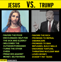 Memes, Preach, and Taxes: JESUS  VS. TRUMP  FAVORS THE POOR  FAVORS THE RICH  ENCOURAGES HELP FOR  PROMISES TO REPEAL  OBAMA CARE  THE SICK AND ELDERLY  WELCOMES THE  PROMISES TO BAN  OUTSIDERIFOREIGNER  REFUGEES, BUILD WALLS  TURNS THE OTHER  ENDORSES TORTURE,  CHEEK  THREATENS NUCLEAR WAR  PREACHES AGAISNT  LOVES MONEY.  MONEY SELFISHNESS  DOESN'T PAY TAXES  OCCUPY DEMOCRATS Truth.  Image by Occupy Democrats, LIKE our page for more!
