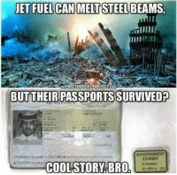 Memes, Jets, and Ridicule: JET FUEL CAN MELT STEEL BEAMS,  THE FREE THOUCHTPROJECT COM  BUT THEIRPASSPORTS SURVIVED  40240372  GOVERNMENT  EXHIBIT  B559 583 c4SAU7  WT00001  COOL STORY BRO  01-455 A (ID) Never forget how ridiculous the official story is.