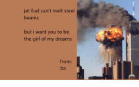 valentine meme: jet fuel can't melt steel  beams  but i want you to be  the girl of my dreams  from: valentine meme
