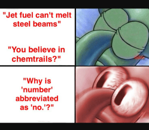 "Steel, Jet, and Fuel: ""Jet fuel can't melt  steel beams""  ""You believe in  chemtrails?""  ""Why is  number  abbreviated  as 'no.'?"" STAY WOKE"