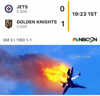 I was hoping we could make it at least a minute before hearing that goal horn but I guess not: JETS  0 SOG  0  19:23 1ST  GOLDEN KNIGHTS  2 SOG  GM 3 I TIED 1-1  NBCN  @nhl ref logic I was hoping we could make it at least a minute before hearing that goal horn but I guess not