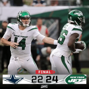 FINAL: The @nyjets win in Sam Darnold's return! #TakeFlight #DALvsNYJ https://t.co/TqcZV8KUAD: JETS  1ORK  NEW YORK  FINAL  NEW YORK  22 24  JET FINAL: The @nyjets win in Sam Darnold's return! #TakeFlight #DALvsNYJ https://t.co/TqcZV8KUAD