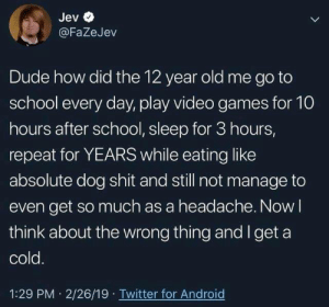 Android, Bad, and Dude: Jev  @FaZeJev  Dude how did the 12 year old me go to  school every day, play video games for 10  hours after school, sleep for 3 hours,  repeat for YEARS while eating like  absolute dog shit and still not manage to  even get so much as a headache. Now l  think about the wrong thing and I get a  cold  1:29 PM 2/26/19 Twitter for Android Back then: I can eat anything and not feel bad. Now: I'm allergic to water. https://t.co/pnkOAWKQj3