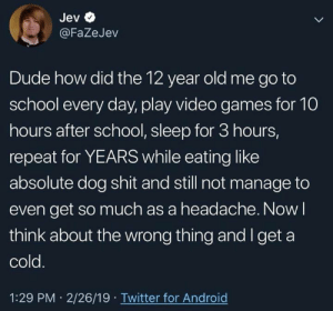Android, Dude, and School: Jev  @FaZeJev  Dude how did the 12 year old me go to  school every day, play video games for 10  hours after school, sleep for 3 hours,  repeat for YEARS while eating like  absolute dog shit and still not manage to  even get so much as a headache. Now I  think about the wrong thing and Iget a  cold  1:29 PM 2/26/19 Twitter for Android