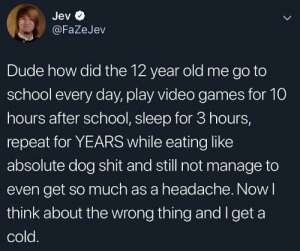 really how.: Jev  L  @FaZeJev  Dude how did the 12 year old me go to  school every day, play video games for 10  hours after school, sleep for 3 hours,  repeat for YEARS while eating like  absolute dog shit and still not manage to  even get so much as a headache. Now I  think about the wrong thing and I get a  cold. really how.