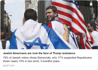 """Horses, The Mask, and Trump: Jewish Americans are now the face of Trump resistance  79% of Jewish voters chose Democrats, only 17% supported Republicans.  Down nearly 10% in two short, if eventful years.  ipost.com Straight from a horse's mouth. """"Fuсk it, we might as well take the mask off. They know anyway."""""""
