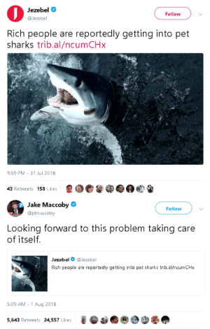 gahdamnpunk:  Sharks will now help us EAT THE RICH  Because: SHARKS ARE GOOD BOYS AND GIRLS: Jezebel  @Jezebel  Follow  Rich people are reportedly getting into pet  sharks trib.al/ncumCHx  9:59 PM- 31 Jul 2018  43 Retweets 158 Likes   Jake Maccoby  @jdmaccoby  Follow  Looking forward to this problem taking care  of itself.  Jezebel @Jezebel  Rich people are reportedly getting into pet sharks trib.al/ncumCHx  5:09 AM -1 Aug 2018  5,643 Retweets 24,557 Likes gahdamnpunk:  Sharks will now help us EAT THE RICH  Because: SHARKS ARE GOOD BOYS AND GIRLS