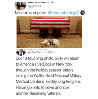 Im not crying you're crying. Sully, service dog of the late GHWB: @jgm41  Mission complete. #Remembering41  4I  @SteveNi13080486  Such a touching photo. Sully will return  to America's VetDogs in New York  through the holiday season before  joining the Walter Reed National Military  Medical Center's Facility Dog Program.  He will go onto to serve and love  another deserving Veteran. Im not crying you're crying. Sully, service dog of the late GHWB
