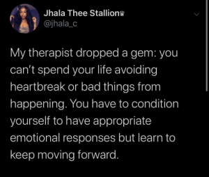 Learn to prosper by yourself by crazycu MORE MEMES: Jhala Thee Stallion  @jhala_c  My therapist dropped a gem: you  can't spend your life avoiding  heartbreak or bad things from  happening. You have to condition  yourself to have appropriate  emotional responses but learn to  keep moving forward. Learn to prosper by yourself by crazycu MORE MEMES