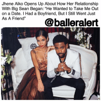 "Bae, Big Sean, and Jhene Aiko: Jhene Aiko Opens Up About How Her Relationship  With Big Sean Began: ""He Wanted to Take Me Out  on a Date. I Had a Boyfriend, But I Still Went Just  As A Fiendr @balleralert Jhene Aiko Opens Up About How Her Relationship With Big Sean Began: ""He Wanted to Take Me Out on a Date. I Had a Boyfriend, But I Still Went Just As A Friend""- blogged by @lanaladonna ⠀⠀⠀⠀⠀⠀⠀ ⠀⠀⠀⠀⠀⠀⠀ Last week, JheneAiko completed a promo run in London for her newest album, 'Trip'. While in the U.K., the singer stopped by '1Xtra Breakfast Show with Dotty,' a popular radio show on the overseas network, BBC Radio. ⠀⠀⠀⠀⠀⠀⠀ ⠀⠀⠀⠀⠀⠀⠀ During the interview, Aiko discussed how her and rapper bae, BigSean became the couple we know them as today, past relationships, motherhood, and more. ⠀⠀⠀⠀⠀⠀⠀ ⠀⠀⠀⠀⠀⠀⠀ ""The year that my brother passed, I had just met him[Big Sean],"" she explained ""And we worked on ""Beware"" and ""I'm Gonna Be"". He wanted to take me out on a date. I had a boyfriend, but I still went...just as a friend."" ⠀⠀⠀⠀⠀⠀⠀ ⠀⠀⠀⠀⠀⠀⠀ Sparks began to fly when their friendship began back in 2012, despite Jhene already being in a relationship. ⠀⠀⠀⠀⠀⠀⠀ ⠀⠀⠀⠀⠀⠀⠀ ""I mean, I had never been courtside to a game,"" she jokingly added. ""And he's cool. So, I told my boyfriend I'm gonna go to this game."" ⠀⠀⠀⠀⠀⠀⠀ ⠀⠀⠀⠀⠀⠀⠀ Many believed that Aiko broke up with her boyfriend to pursue a relationship with Sean, but according to Jhene, their relationship was practically done before Sean even came into the picture. ⠀⠀⠀⠀⠀⠀⠀ ⠀⠀⠀⠀⠀⠀⠀ Aiko's then-boyfriend was secretly married to his baby mama (yikes!), and that's what led to their split. ⠀⠀⠀⠀⠀⠀⠀ ⠀⠀⠀⠀⠀⠀⠀ Timing played a huge role in the couple finally becoming a union. ⠀⠀⠀⠀⠀⠀⠀ ⠀⠀⠀⠀⠀⠀⠀ ""When I came around and was like, let's see what he's [Sean] talking about,"" said Aiko. ""He.. got a girlfriend. I took too long."" The two were playing relationship tag with one another for a while. ⠀⠀⠀⠀⠀⠀⠀ ⠀⠀⠀⠀⠀⠀⠀ All's well that ends well though, because their stars finally aligned, and now the couple can't seem to be able to get enough of one another."