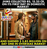 Marketable: JHMS COLLECTED RS. 15.25 CR.  ON ITS FIRST DAY IN DOMESTIC  MARKET  ZAUGHING  AND EARNED $3.85 MILLION ON  DAY ONE IN OVERSEAS MARKET