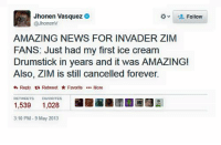 Fuck: Jhonen Vasquez  v Follow  JhonenV  AMAZING NEWS FOR INVADER ZIM  FANS: Just had my first ice cream  Drumstick in years and it was AMAZING!  Also, ZIM is still cancelled forever.  Reply ta Retweet  Favorite  More  FAVORITES  1,539  1.028  310 PM-9 May 2013 Fuck